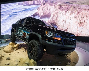 DETROIT, US - JANUARY 15, 2018: Chevrolet Colorado pickup truck on display during the North American International Auto Show at the Cobo Center in downtown Detroit.