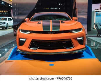 DETROIT, US - JANUARY 15, 2018: Chevrolet Camaro Hot Wheels edition on display during the North American International Auto Show at the Cobo Center in downtown Detroit.
