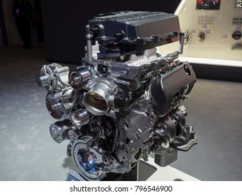 DETROIT, US - JANUARY 15, 2018: Chevrolet LT5 6.2 liter engine on display during the North American International Auto Show at the Cobo Center in downtown Detroit.