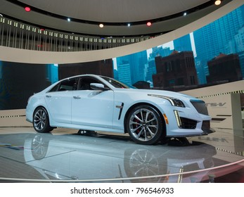 DETROIT, US - JANUARY 15, 2018: Cadillac CTS-V on display during the North American International Auto Show at the Cobo Center in downtown Detroit.