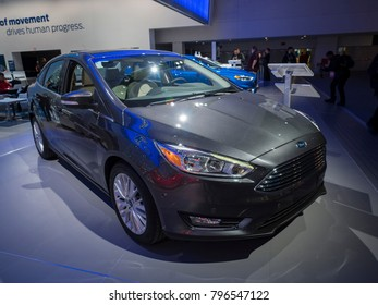 DETROIT, US - JANUARY 15, 2018: Ford Focus on display during the North American International Auto Show at the Cobo Center in downtown Detroit.