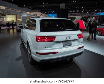 DETROIT, US - JANUARY 15, 2018: Audi Q7 on display during the North American International Auto Show at the Cobo Center in downtown Detroit.