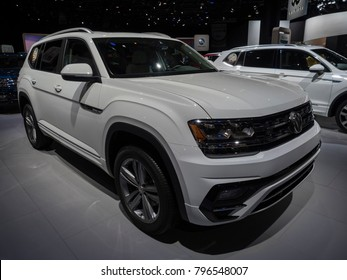 DETROIT, US - JANUARY 15, 2018: Volkswagen Atlas R-Line on display during the North American International Auto Show at the Cobo Center in downtown Detroit.