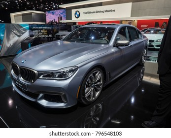 DETROIT, US - JANUARY 15, 2018: BMW 760i on display during the North American International Auto Show at the Cobo Center in downtown Detroit.
