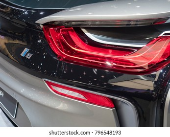 DETROIT, US - JANUARY 15, 2018: BMW i8 on display during the North American International Auto Show at the Cobo Center in downtown Detroit.