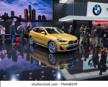 DETROIT, US - JANUARY 15, 2018: BMW X2 on display during the North American International Auto Show at the Cobo Center in downtown Detroit.
