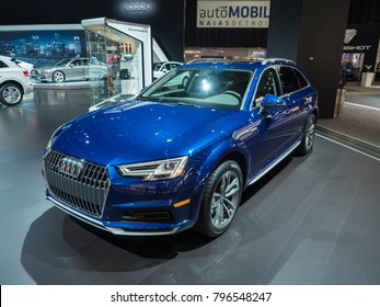 DETROIT, US - JANUARY 15, 2018: Audi A4 Allroad on display during the North American International Auto Show at the Cobo Center in downtown Detroit.