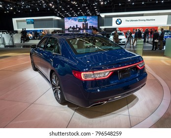 DETROIT, US - JANUARY 15, 2018: Lincoln Continental on display during the North American International Auto Show at the Cobo Center in downtown Detroit.