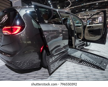 DETROIT, US - JANUARY 15, 2018: Chrysler Pacifica by Braunability on display during the North American International Auto Show at the Cobo Center in downtown Detroit.