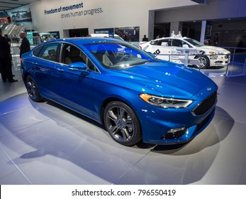 DETROIT, US - JANUARY 15, 2018: Ford Fusion Sport on display during the North American International Auto Show at the Cobo Center in downtown Detroit.