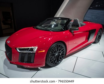 DETROIT, US - JANUARY 15, 2018: Audi R8 V10 Plus on display during the North American International Auto Show at the Cobo Center in downtown Detroit.