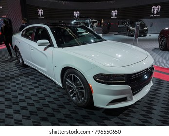 DETROIT, US - JANUARY 15, 2018: Dodge Charger GT AWD on display during the North American International Auto Show at the Cobo Center in downtown Detroit.