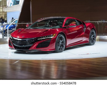 DETROIT, US - JANUARY 9,2017: Acura NSX on display during the North American International Auto Show at the Cobo Center in downtown Detroit.