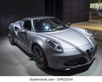 DETROIT, US - JANUARY 9,2017: Alfa Romeo 4c on display during the North American International Auto Show at the Cobo Center in downtown Detroit.