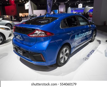 DETROIT, US - JANUARY 9,2017: Hyundai IONIQ autonomous car on display during the North American International Auto Show at the Cobo Center in downtown Detroit.