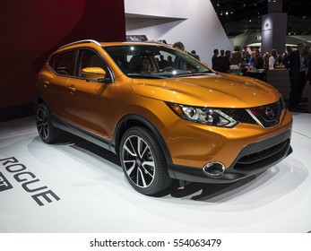 DETROIT, US - JANUARY 9,2017: Nissan Rogue on display during the North American International Auto Show at the Cobo Center in downtown Detroit.
