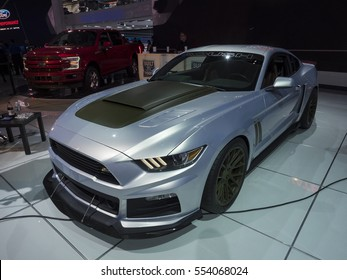 DETROIT, US - JANUARY 9,2017: Roush P-51 edition Ford Mustang on display during the North American International Auto Show at the Cobo Center in downtown Detroit.