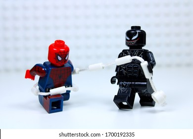 DETROIT, USA - APRIL 11, 2020: Venom vs. Spider man. Lego mini-figures.