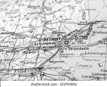 DETROIT, USA - CIRCA APRIL 2016: Detail of a map of the city with selective focus on town name in black and white