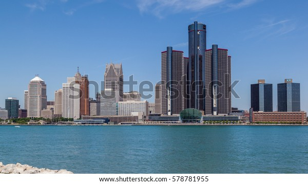 DETROIT, USA - JUNE 17, 2016: A view of the skyline of Detroit, Michigan from Riverfront Trail, Windsor, Ontario, Canada