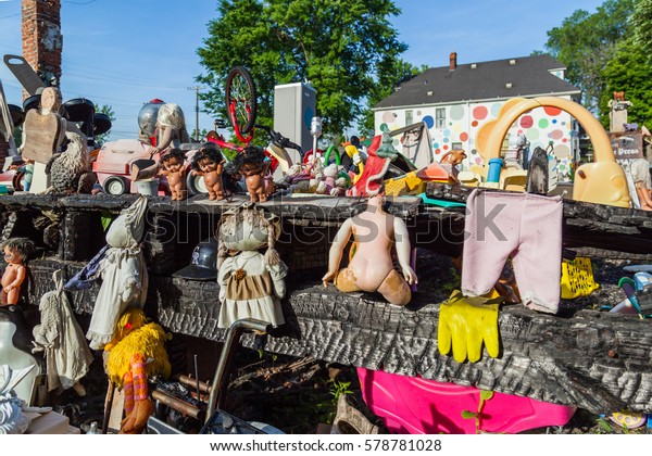 DETROIT, USA - June 21, 2016: The Heidelberg Project in Detroit, Michigan, USA. The Heidelberg Project is an outdoor art project in Detroit, Michigan which found by Tyree Guyton in 1986.