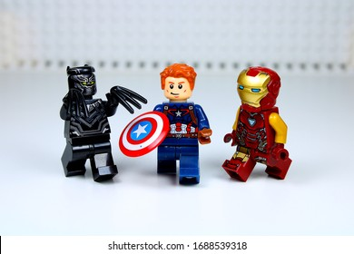 DETROIT, USA - MAR 30, 2020: Lego Captain America with Black Panther and Iron man.