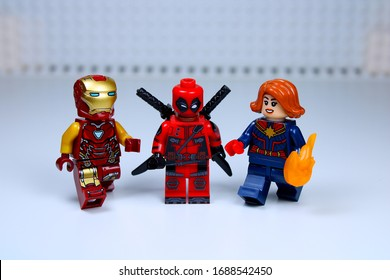 DETROIT, USA - MAR 30, 2020: Lego Deadpool, Iron man and Captain Marvel.