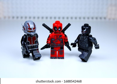 DETROIT, USA - MAR 30, 2020: Lego Deadpool with Ant man and Venom.