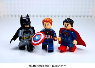 DETROIT, USA - MAR 30, 2020: Lego Captain America with Batman and Superman.