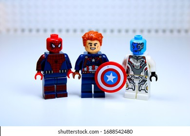 DETROIT, USA - MAR 30, 2020: Lego Captain America with Spider man and Nebula.
