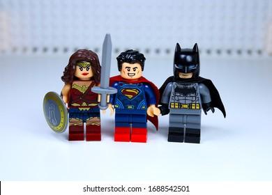 DETROIT, USA - MAR 30, 2020: Lego Superman with Wonder Woman and Batman.