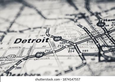 Detroit USA travel map background