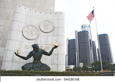 DETROIT-AUGUST10,2015: Spirit of Detroit Statue and Renaissance Center in downtown Detroit. August 10,2015, Detroit, Michigan
