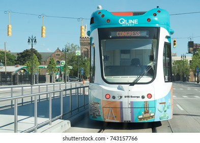 Detroit's New Q-Line M-1 Rail Car, Detroit, June 1, 2017: Q-Line or M-1 Rail Car on Woodward Avenue, June 1,2017 Detroit, Michigan, USA