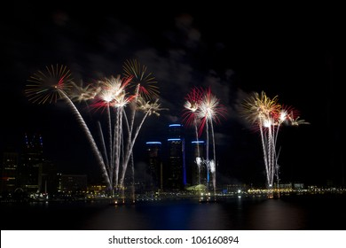 Detroit's Target Fireworks June 25th 2012 on the Detroit River celebrating the 4th of July. The skyline of Detroit and the Renaissance Center are seen behind the fireworks.