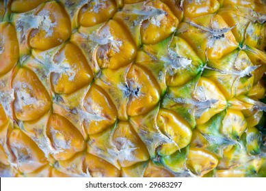 dettail ripe vivid pineapple textured skin closeup