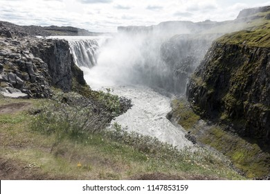 Dettifoss, a waterfall in Vatnajökull National Park in Northeast Iceland, the most powerful waterfall in Europe
