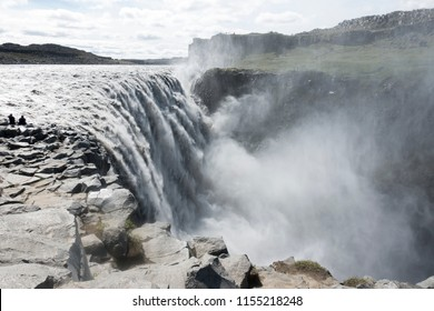 Dettifoss, a waterfall in Vatnajokull National Park in Northeast Iceland, the most powerful in Europe