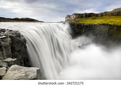 Dettifoss is a waterfall in Vatnajokull National Park in Northeast Iceland. It is reputed to be the most powerful waterfall in Europe.