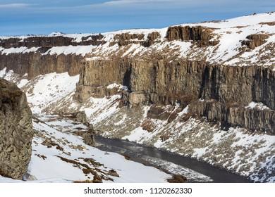 Dettifoss waterfall in winter season Iceland