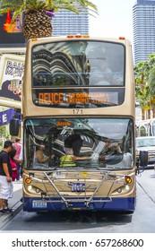 The Deuce Bus service on the strip of Las Vegas - LAS VEGAS / NEVADA - APRIL 23, 2017