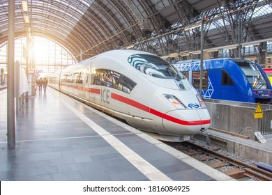 Deutsche Bahn ICE 3 train stopping at platform Hauptbahnhof Central Station. Germany, Frankfurt am Main. 14 December 2019