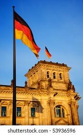 Deutscher Bundestag at sunset