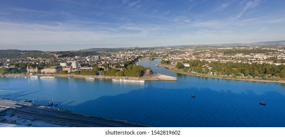 Deutsches Eck, German Corner, the confluence of the Rhine and Moselle rivers with the equestrian statue of Kaiser Wilhelm in Koblenz, Rhineland-Palatinate, Germany, Europe