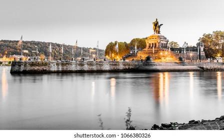 Deutsches Eck in Koblenz Rhineland-Palatinate Germany.