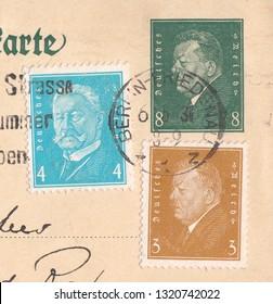 DEUTSCHES REICH - CIRCA 1931:A stamp printed in Deutsches Reich,shows Friedrich Ebert (1871-1925), 1st President.Paul von Hindenburg (1847-1934), 2nd President, circa 1931
