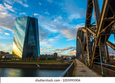 Deutschherrn bridge.ECB, European Central Bank./ Frankfurt, Germany,March 2018