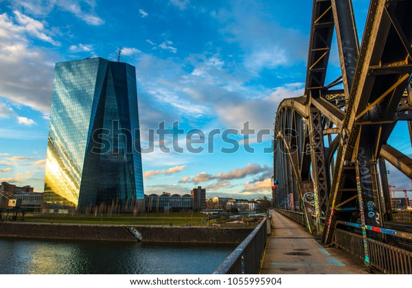 Deutschherrn bridge.ECB, European Central Bank./ Frankfurt, Germany,March 2018
