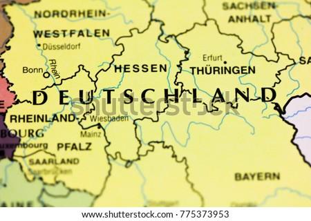 Deutschland Germany On Map Closeup Stock Photo (Edit Now) 775373953 ...