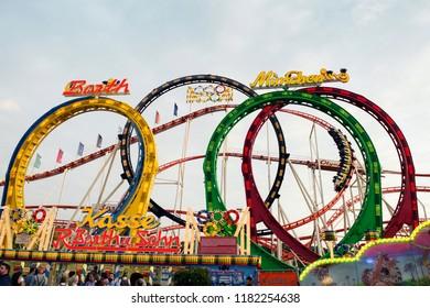 Münnchen, Deutschland - September 27, 2017: Roller Coaster Olympia Looping, Oktoberfest, Munich